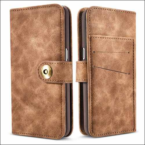 JGOO Leather Wallet Case for Samsung Galaxy S8 Plus