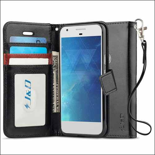 J&D Wallet Case for Google Pixel 2