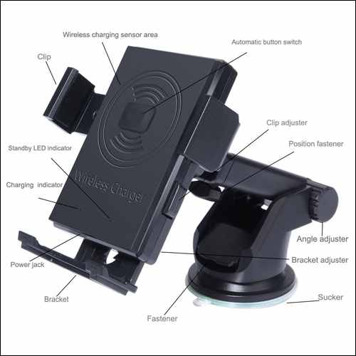 Rodzon Car Holder and Qi Wireless Cellphone Mount for iPhone