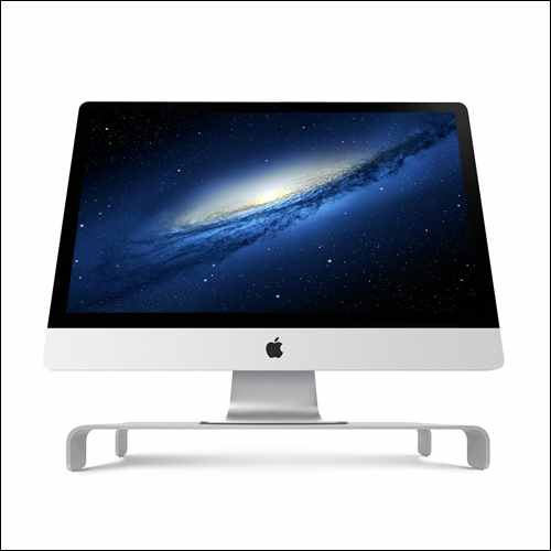 iQunix Spider Thick Aluminum Monitor Stand Computer Riser Silver Holder for iMac Pro
