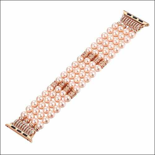 Fastgo Apple Watch Series 3 Pearl Bracelet Replacement iWatch Strap for Women