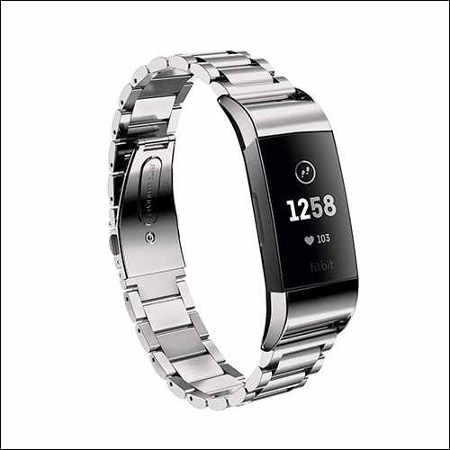 EloBeth Fitbit Charge 3 Stainless Steel Band