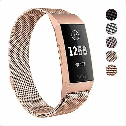 SWEES Fitbit Charge 3 Stainless Steel Band