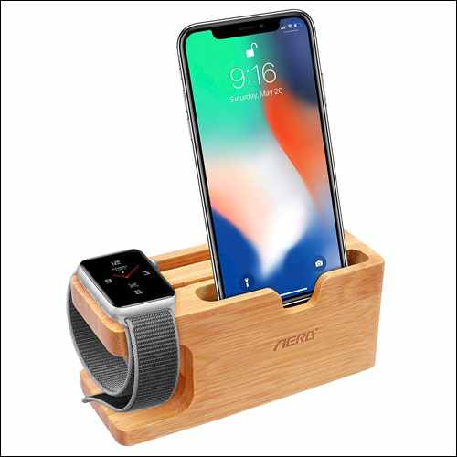 Aerb Bamboo Wood Docking Station for Apple Watch