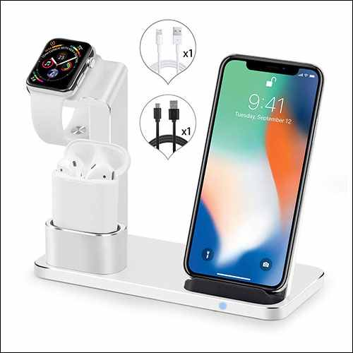 SENZLE Qi Wireless Charging Stand for iPhone, AirPods and Apple Watch