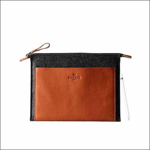 Harber 12.9 Inch iPad Pro Leather Sleeve with Apple Pencil Holder