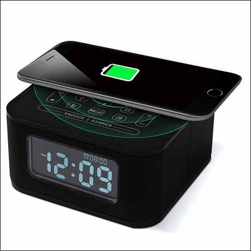 Homtime Wireless Charging Alarm Clock with Radio Bluetooth Speaker for iPhone