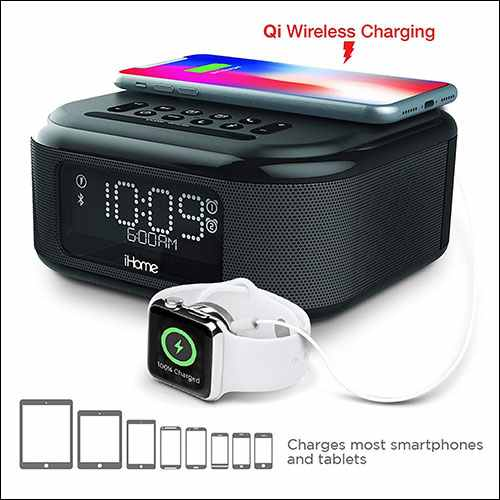 iHome Wireless Charging Alarm Clock with Speakerphone for iPhone