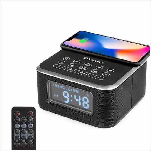 InstaBox Bluetooth Dual Alarm Clock with Wireless Charging for iPhone
