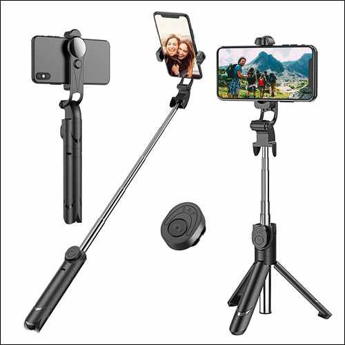Erligpowht Tripod Stand Selfie Stick for iPhone with Detachable Wireless Remote