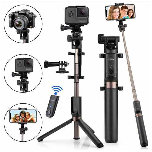 KUSKY Extendable Selfie Stick Tripod with Wireless Remote Shutter for iPhone