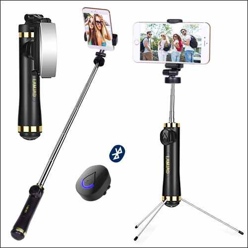 LAMJAD Extendable iPhone Selfie Stick Tripod with Wireless Remote